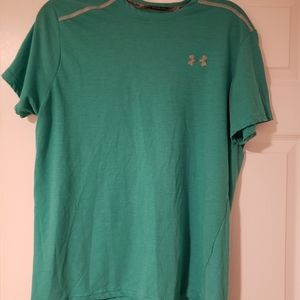 turquoise under armor workout shirt